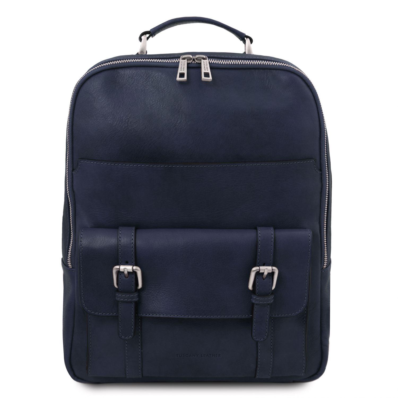 Nagoya - Kožený batoh na notebook - Tmavě modrá barva