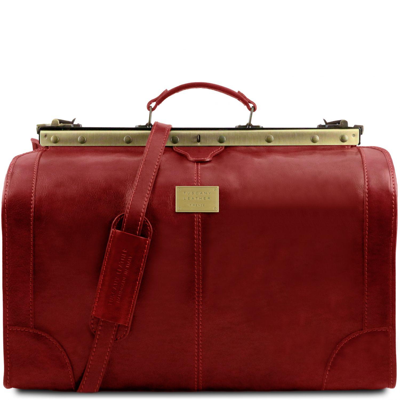 Madrid - Gladstone Leather Bag - Large size - Červená barva