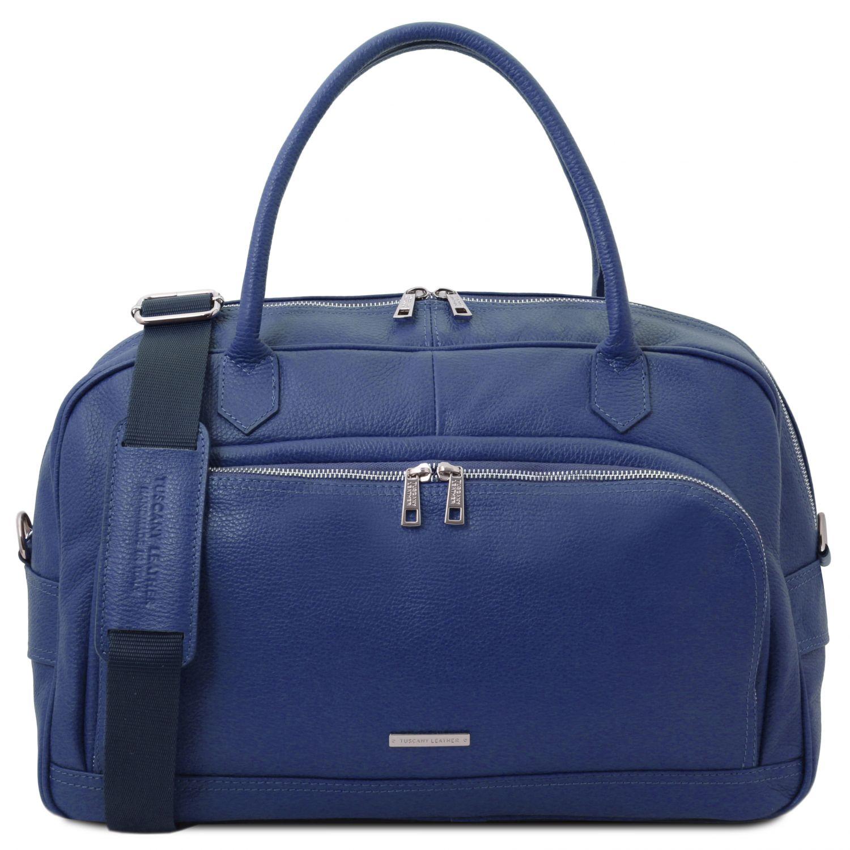 """TL Voyager - Cestovní """"duffle"""" taška z měkké kůže - Tmavě modrá barva"""