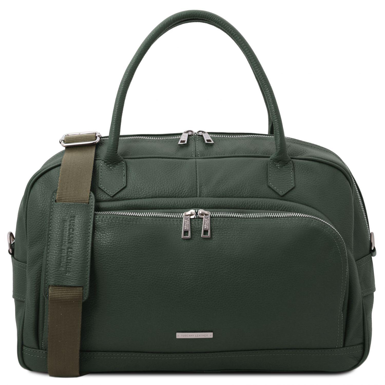 """TL Voyager - Cestovní """"duffle"""" taška z měkké kůže - Lesní zelená barva"""