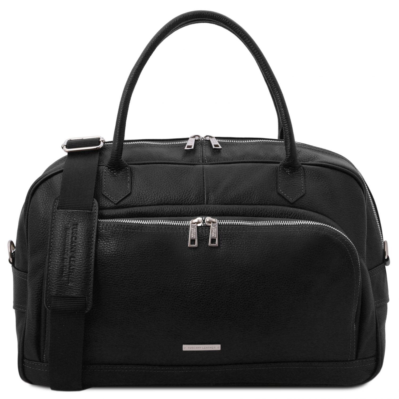 """TL Voyager - Cestovní """"duffle"""" taška z měkké kůže - Černá barva"""