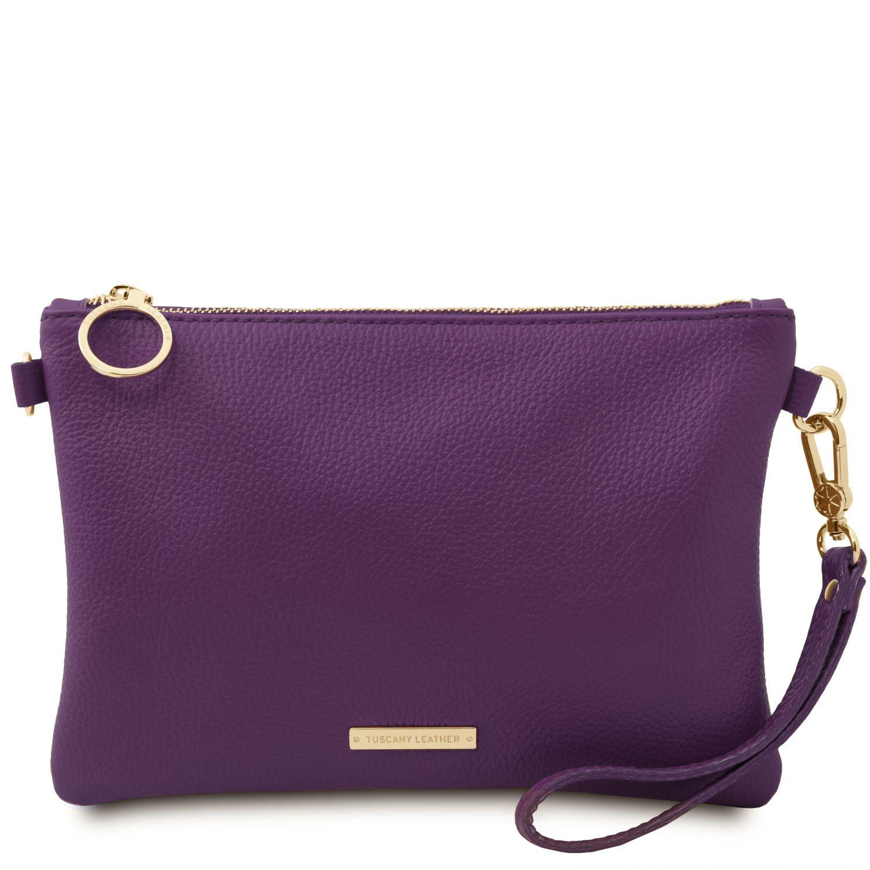 TL Bag - Psaníčko z měkké kůže - Purpurová barva