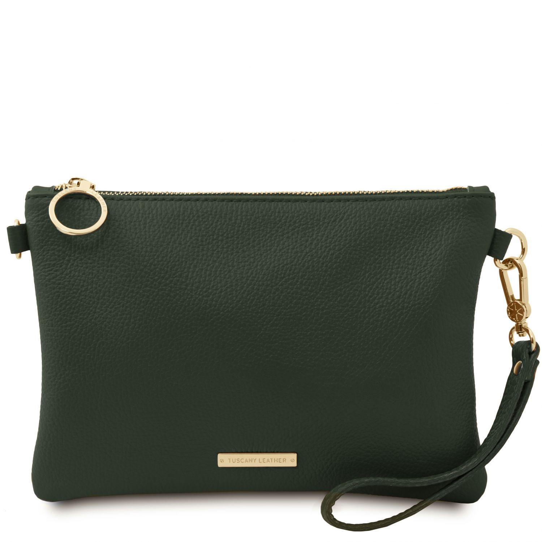 TL Bag - Psaníčko z měkké kůže - Lesní zelená barva