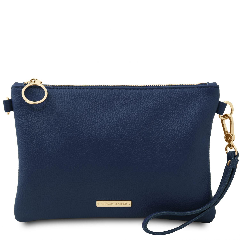 TL Bag - Psaníčko z měkké kůže - Tmavě modrá barva