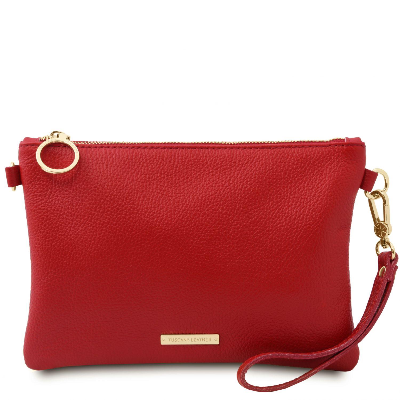 TL Bag - Psaníčko z měkké kůže - Rtěnková červená barva