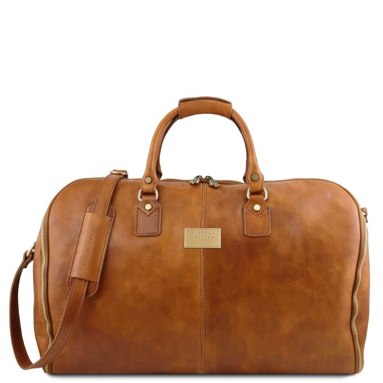 Antigua - Cestovní kožená oděvní taška - Přírodní barva
