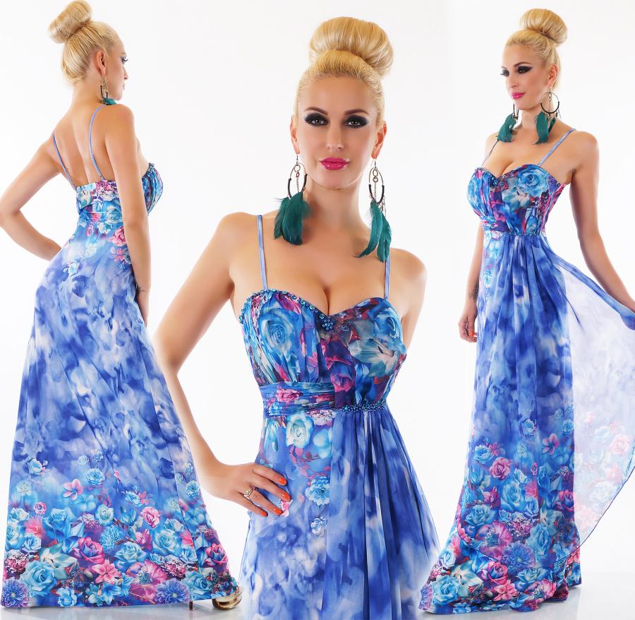 Dámské letní dlouhé květinové šaty na ramínka - modré - vel. M L e8b4bfbbae