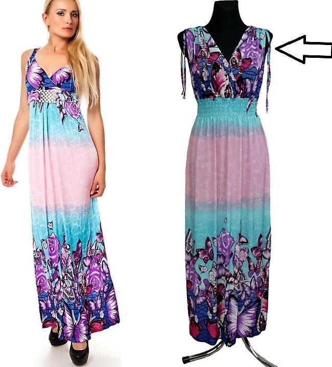 9eaf2e46ba47 Dámské dlouhé letní šaty do V MEGAN 02 - vel. UNI