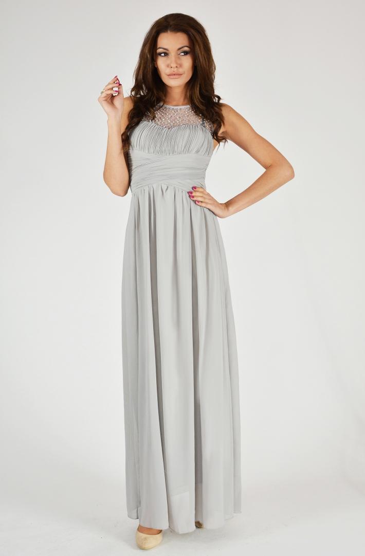 Dámské dlouhé plesové šaty u dekoltu s korálky - šedé - vel. S 359e8135af