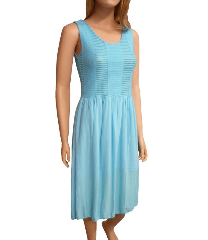b6eead9087cf Dámské letní šaty pod kolena - tyrkys - vel. UNI