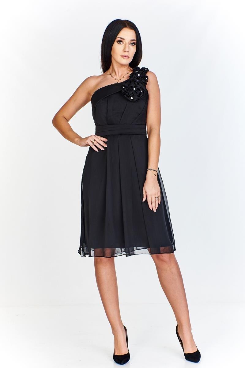 7fd3471fcc30 Dámské plesové společenské šaty na ramínko - černé - vel. 44