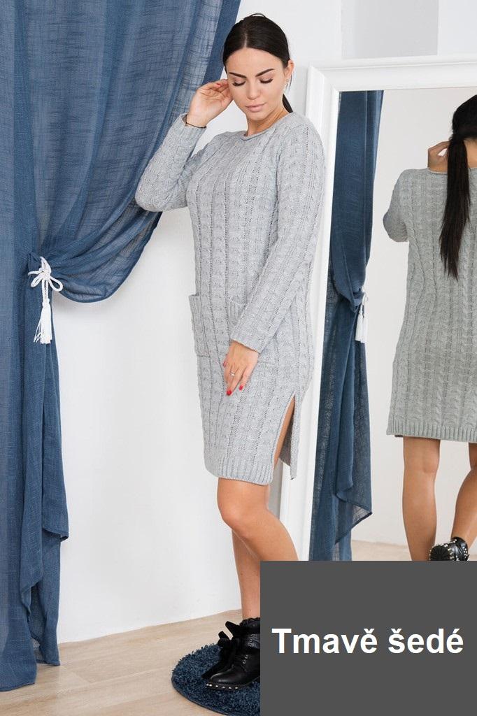 daa734d92db4 Dámské úpletové šaty s kapsami - tmavě šedé - vel. UNI