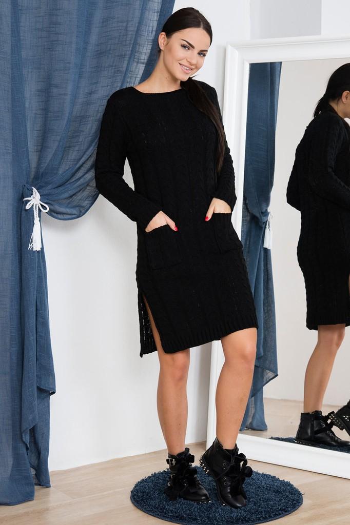 282db8ad96f8 Dámské úpletové šaty s kapsami - černé - vel. UNI