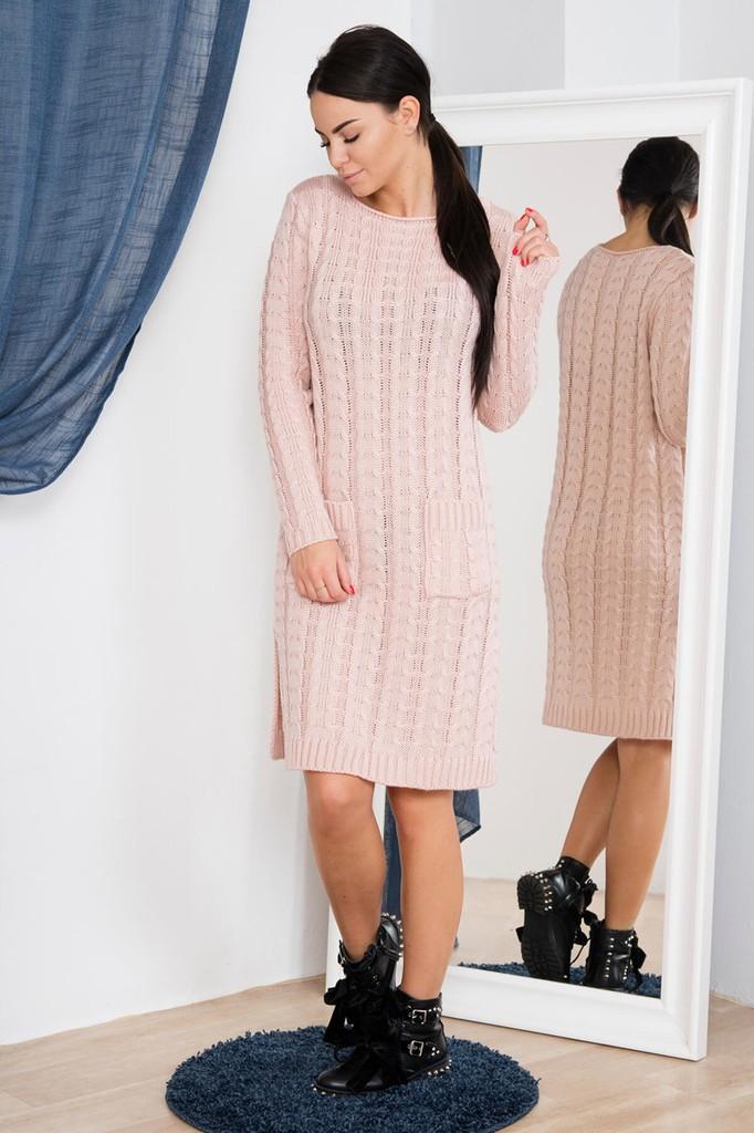 Dámské úpletové šaty s kapsami - světle růžové - vel. UNI 47197898cb