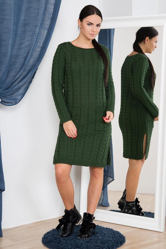 dbe9d1915c84 Dámské úpletové šaty s kapsami - zelené - vel. UNI