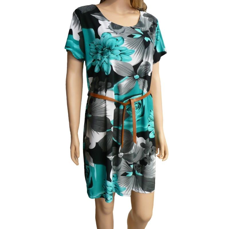 9bbfe0911e5c Dámské květované letní šaty - černo-zelené - vel. UNI
