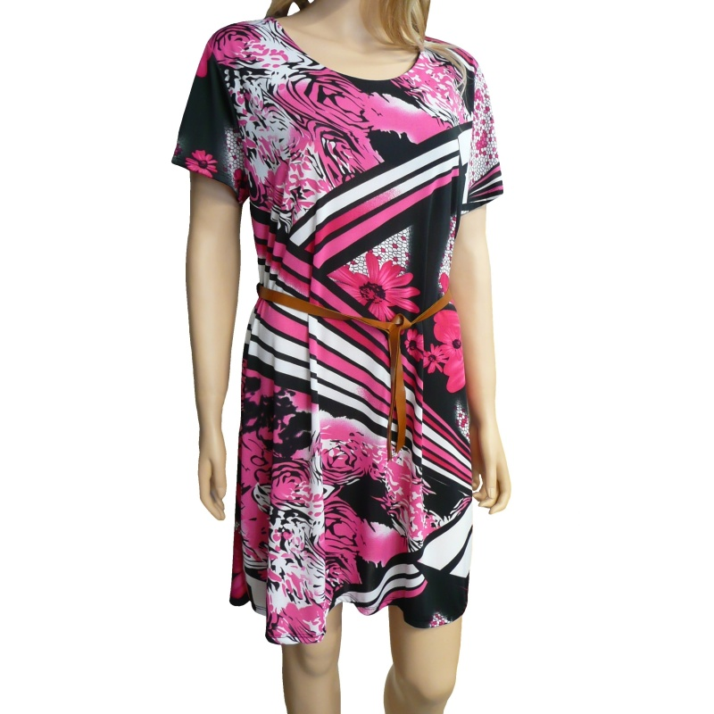f2f64335df44 Dámské květované letní šaty - černo-růžové - vel. UNI