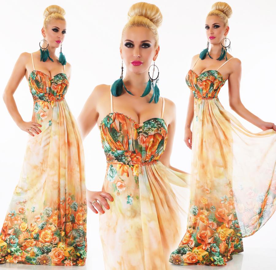 ef705733429 Dámské letní dlouhé květinové šaty na ramínka - oranžové - vel. S M