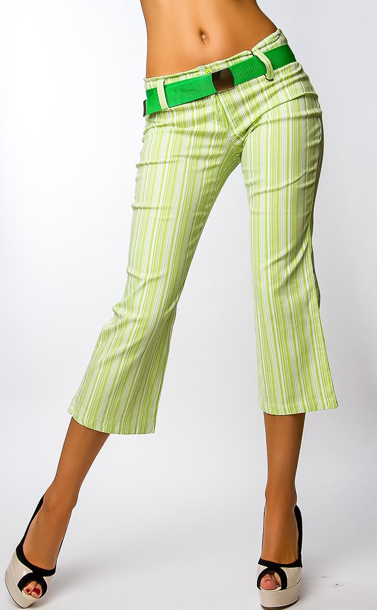 Dámské 7 8 kalhoty s páskem - zeleno-bílé - vel. L 5d7f518435