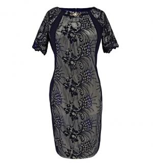 ee79f264771 Dámské luxusní společenské šaty - tmavě modré - vel.