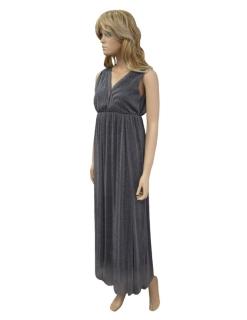 491e6b9212e7 Dlouhé jednobarevné společenské šaty - šedo-stříbrné - vel. UNI empty