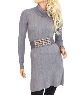 Dámské úpletové šaty nad kolena - šedé - vel. e36daed2e1