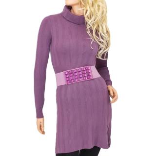 Dámské úpletové šaty nad kolena - vínové - vel. L XL empty 739bad1b5e