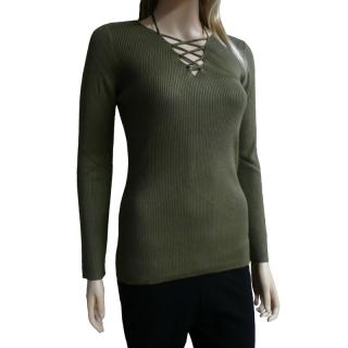 Dámský slabší svetr svetřík se sexy výstřihem - khaki - vel. a3159a13bc