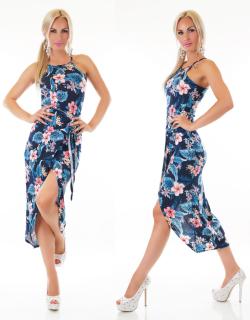 209982d95862 Dámské dlouhé letní šaty v pase s překřížením - tmavě modré - vel.