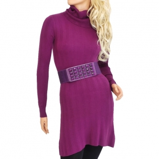 Dámské úpletové šaty nad kolena - tmavě fialové - vel. L XL empty e469227ab1
