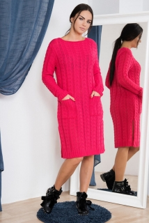 86b04c612e59 Dámské úpletové šaty s kapsami - tmavě růžové - vel. UNI empty