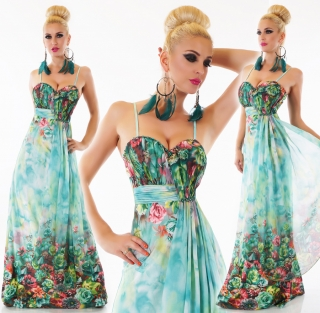 Dámské letní dlouhé květinové šaty na ramínka - zelené - vel. M L empty 2c6e0f5e46