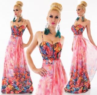 24f14f1f973 Dámské letní dlouhé květinové šaty na ramínka - růžové - vel.