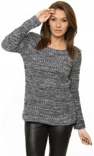 Dámský svetr s kapsičkou - melírovaný černý - vel. b050877129