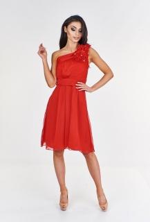 f4070fe29e2 Dámské plesové společenské šaty na ramínko - červené - vel.
