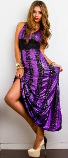 2e91f412aa46 Dámské dlouhé šaty - černo-fialové - vel. UNI empty