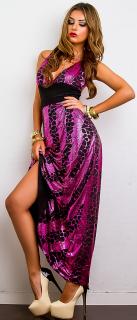 5caf59d6f6ae Dámské dlouhé šaty - černo-růžové - vel. UNI empty