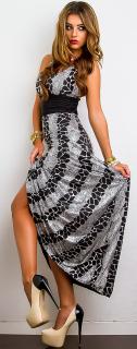 004ebb24a70 Dámské dlouhé šaty - černo-stříbrné - vel.