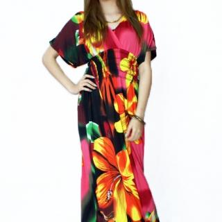 f3324754a72 Dámské dlouhé letní šaty kr. rukáv - vel.