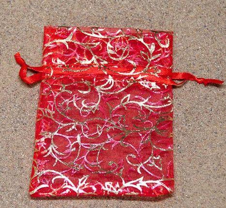 Barevný - červený ze zlatým potiskem 8x10,5 cm