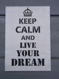 Cedulka Keep calm and live your dream bílá