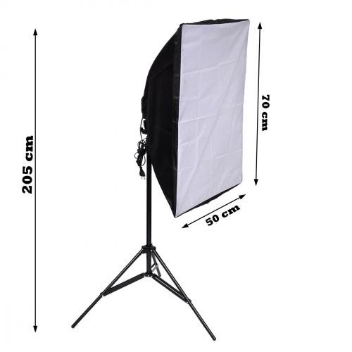1x Softbox 50x70 cm + 1 stativ a 4 ks úsporné zářivky 105W