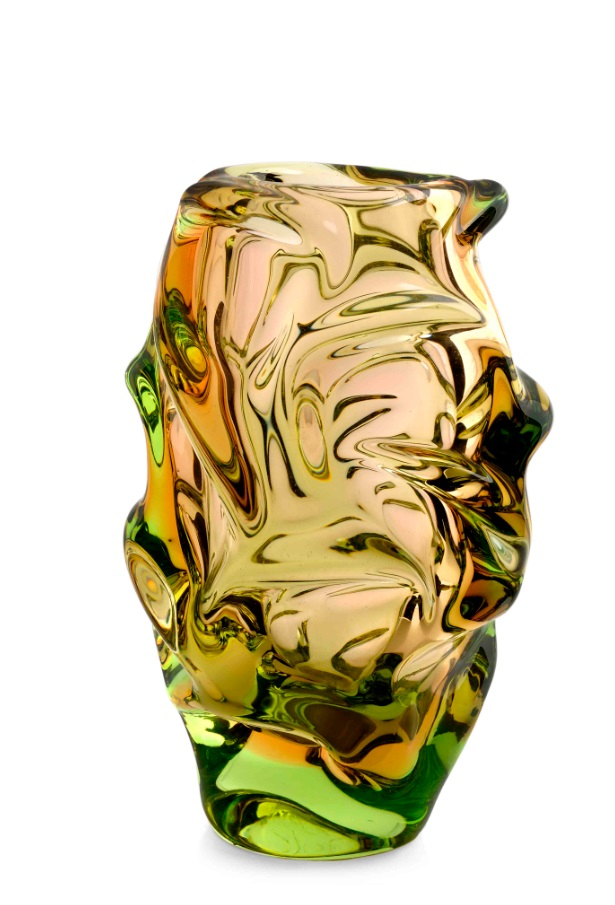 A topaz and green cased 'Propeller' vase, designed by Jan Kotík in 1955, pattern number 5503, 8in (20.5cm) high.