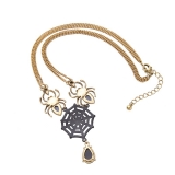 Artilady gold color natural crystal stone pendant necklace fashion